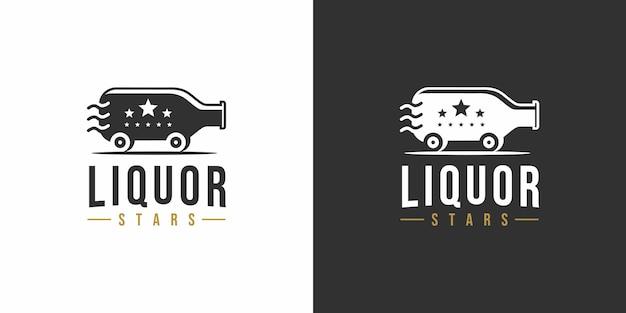 Design de logotipo vintage com estrelas de licor