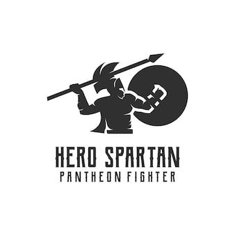 Design de logotipo vintage com silhueta espartana e carimbo retrô