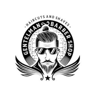 Design de logotipo vintage da barbearia cavalheiro