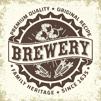 Design de logotipo vintage da cervejaria