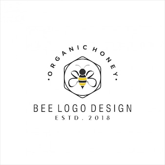 Design de logotipo vintage de abelha