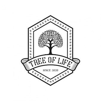 Design de logotipo vintage de árvore.