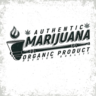 Design de logotipo vintage de cannabis medicinal, selo de impressão grange, emblema de tipografia criativa de maconha