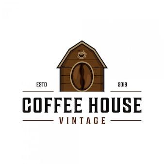 Design de logotipo vintage de casa de café