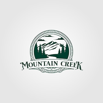 Design de logotipo vintage de creek e montanha Vetor Premium