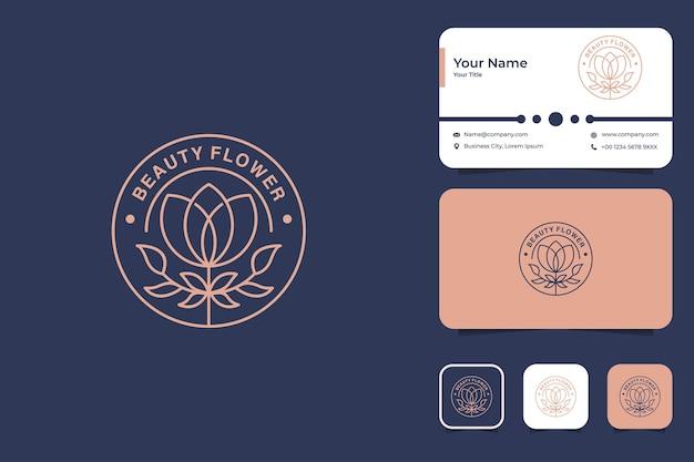 Design de logotipo vintage de flor rosa e cartão de visita