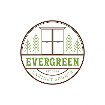 Design de logotipo vintage de gabinete evergreen