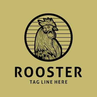 Design de logotipo vintage de galo