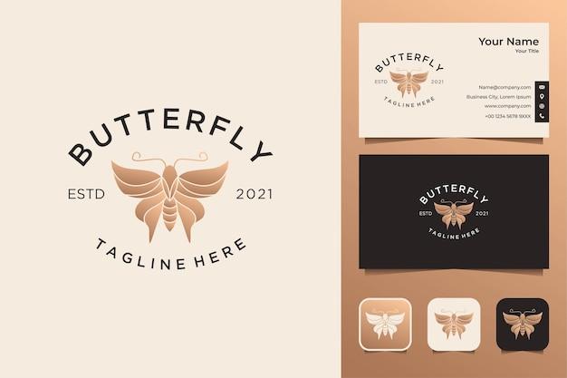 Design de logotipo vintage de luxo em borboleta e cartão de visita