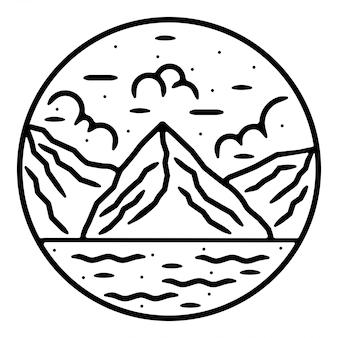 Design de logotipo vintage de montanha monoline