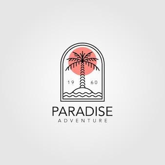Design de logotipo vintage de palmeira, arte de linha design de logotipo de palmeira Vetor Premium