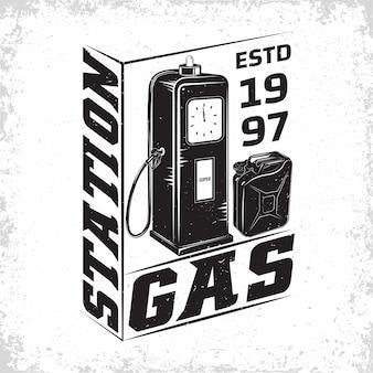 Design de logotipo vintage de posto de gasolina