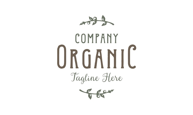 Design de logotipo vintage de rótulo de tipografia orgânica