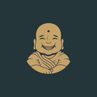 Design de logotipo vintage de sorriso de buda