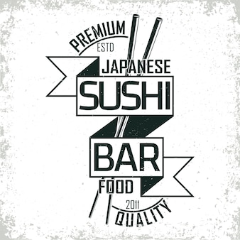 Design de logotipo vintage de sushi bar, selo com impressão de grange, emblema de tipografia criativa de comida japonesa