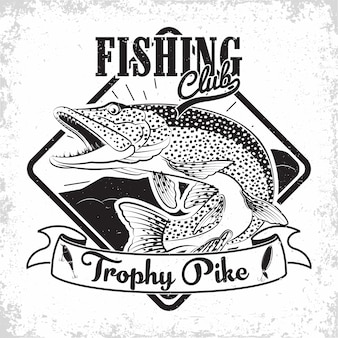 Design de logotipo vintage do clube de pesca