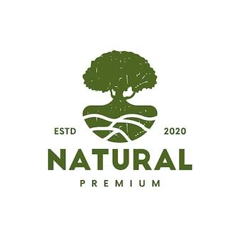 Design de logotipo vintage em terreno de árvore