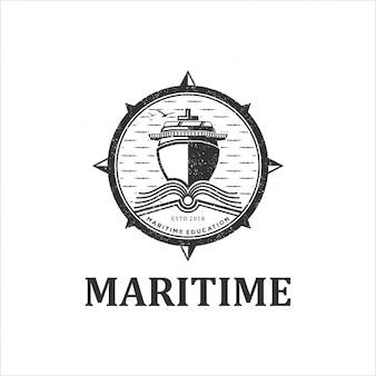 Design de logotipo vintage escola marítima