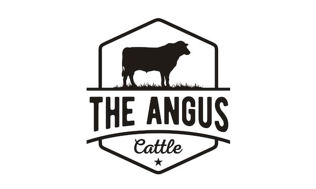 Design de logotipo vintage gado / carne