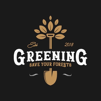 Design de logotipo vintage greening