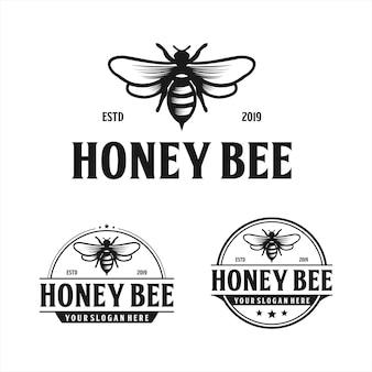 Design de logotipo vintage mel abelha