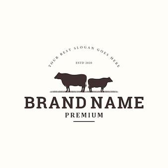 Design de logotipo vintage para gado