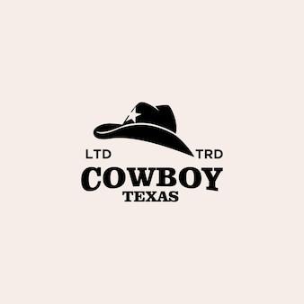 Design de logotipo vintage premium de chapéu de cowboy do texas