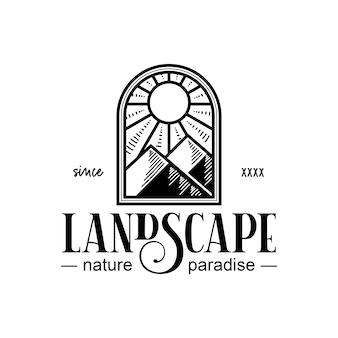 Design de logotipo vintage preto em paisagem de janela