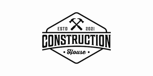 Design de logotipo vintage retro construção casa martelo moderno
