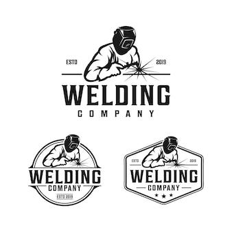 Design de logotipo vintage retrô de empresa de soldagem