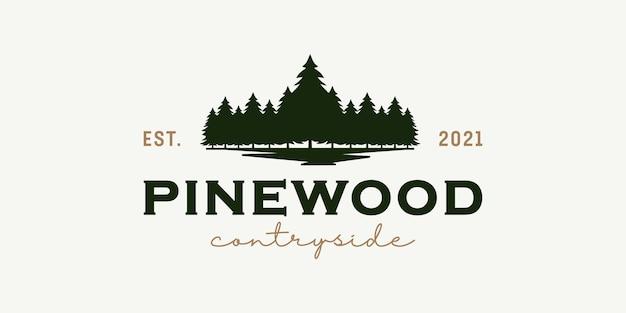Design de logotipo vintage retrô hippie rústico de madeira de pinho