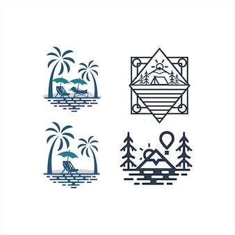 Design de logotipo vintage retrô mountain stamp label para equipe de aventura ao ar livre
