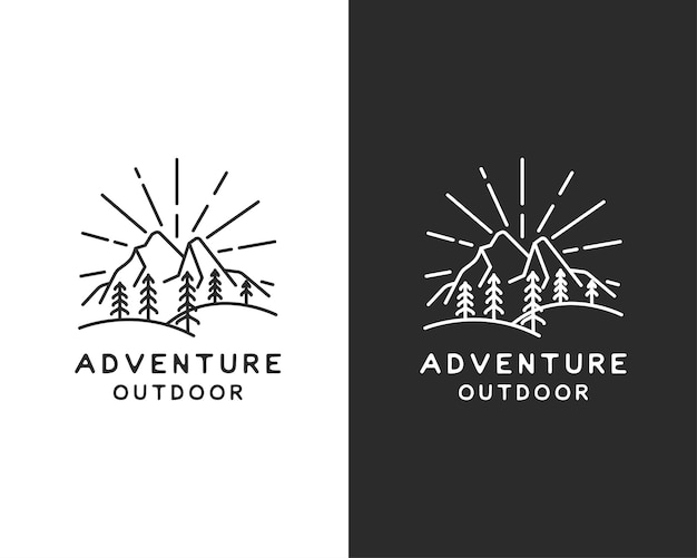 Design de logotipo vintage retrô sunrise mountain forest nature evergreen tree para outdoor adventure club