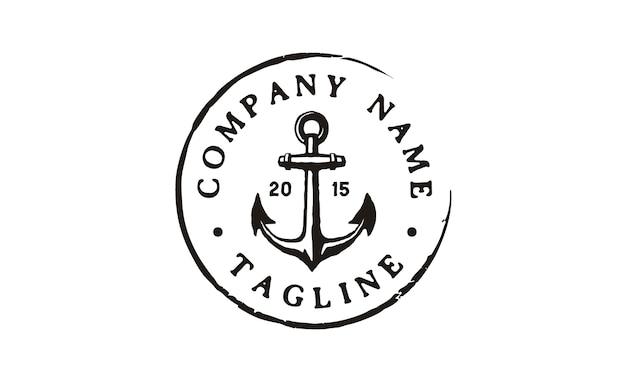 Design de logotipo vintage rustic stamp âncora