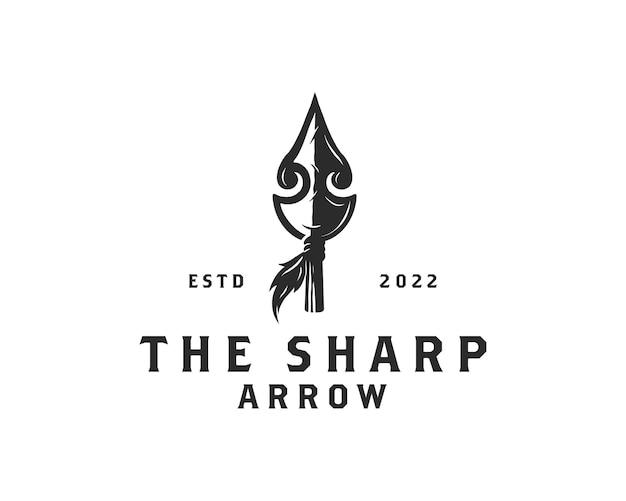 Design de logotipo vintage rústico hipster ponta de flecha caça
