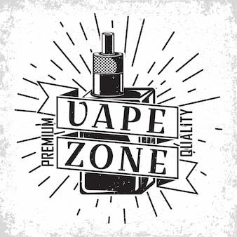 Design de logotipo vintage vape lounge, emblema do clube ou casa vape, emblema da tipografia monocromática, impressão de selos com grange removível fácil, vetor