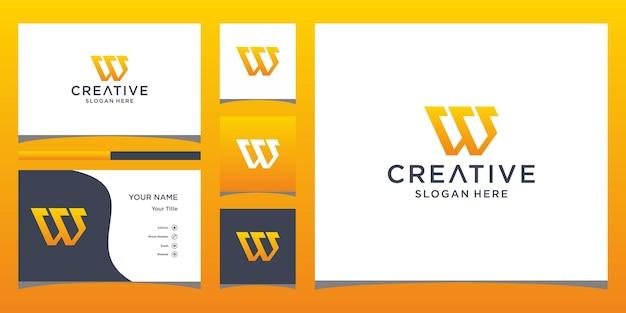 Design de logotipo w com modelo de cartão de visita