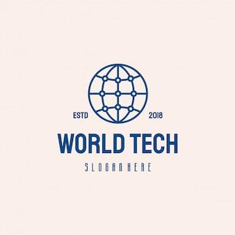 Design de logotipo world tech, símbolo de modelo de logotipo de tecnologia globo