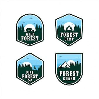Design de logotipos de guarda florestal de pinheiros