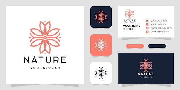 Design de lótus de logotipo de flor com estilo de linha de arte. design de cartão de visita.