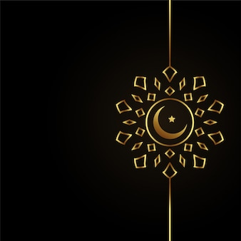 Design de lua dourada islâmica em fundo preto