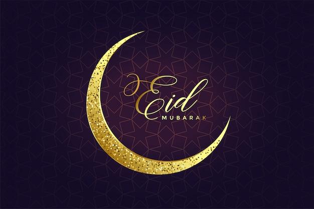 Design de lua eid glitter dourado
