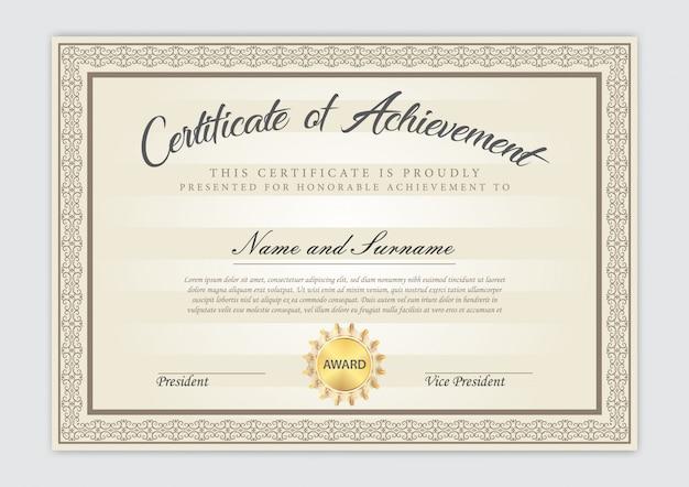 Design de luxo modelo certificado com elemento de texto, diploma