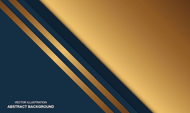 Design de luxo moderno com fundo azul e dourado