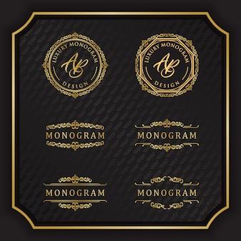 Design de luxo monograma com fundo preto elegante