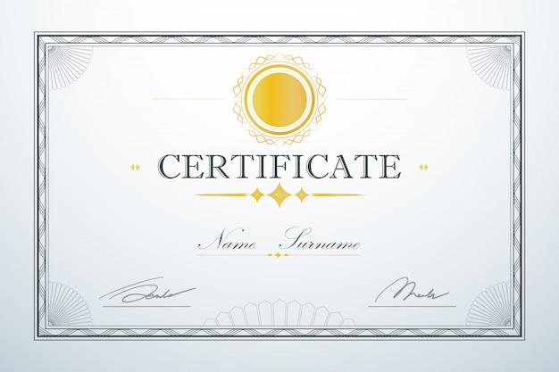 Design de luxo retrô vintage. modelo de quadro de cartão de certificação