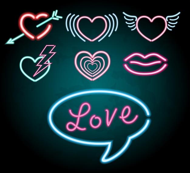 Design de luz de néon com diferentes formas de coração