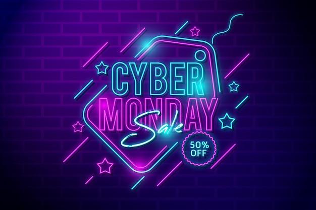 Design de luzes neon cyber segunda-feira