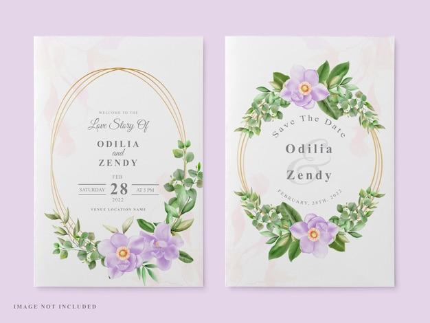Design de magnólia de cartão de convite de casamento