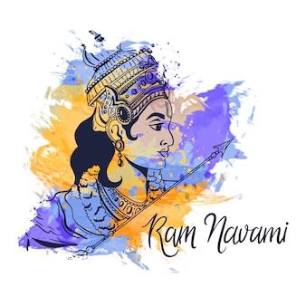 Design de manchas de aquarela com ram navami